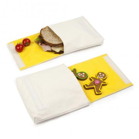 Snack pack:  pochette alimentaire en coton BIO - motif  Bon Appétit - lot de 2