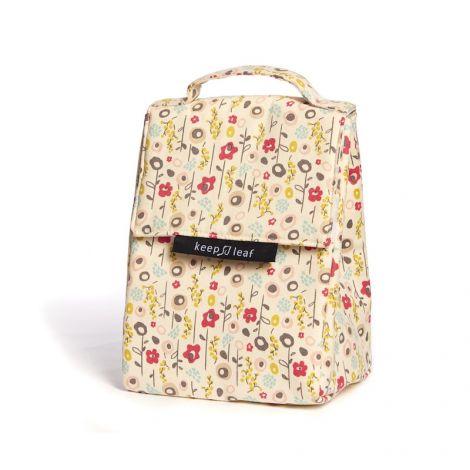 Lunch bag isotherme en coton BIO - motif fleurs