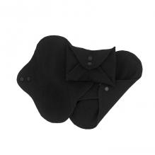 Serviettes hygiéniques lavables en coton BIO - MINI - Noir- pack de 3