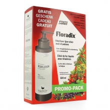 Floradix Promo pack. 500 ml + un lait corporel Hebori gratuit
