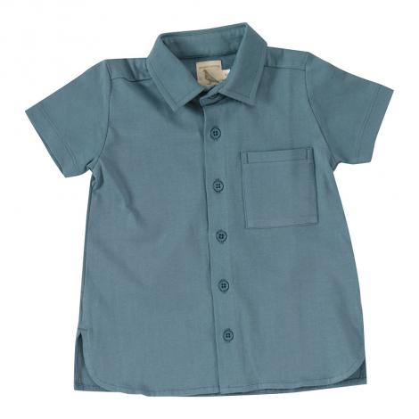 Chemise en jersey BIO - Bleu adriatique uni