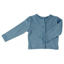 Cardigan fine maille pointelle - Bleu adriatique uni *