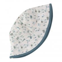 Chapeau blanc de soleil - Lamas bleus en coton BIO