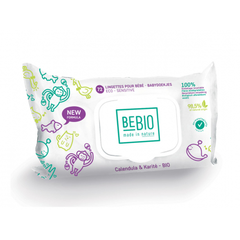 Lingettes Bio pour bébé ECO-SENSITIVE et biodégradables Calendula et Karité - 72 unités