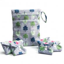 Kit de départ - serviettes hygiéniques lavables  - Gris clair arbres
