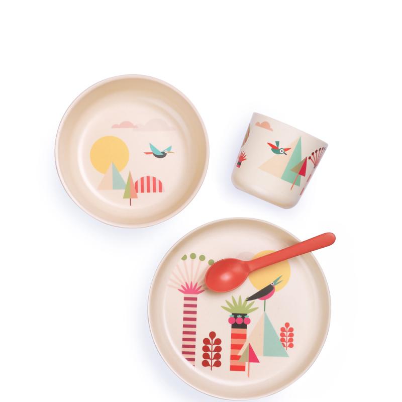 Set de vaisselle enfant en fibre de Bambou biodégradable Arbres