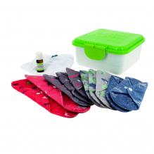 Kit complet - serviettes hygiéniques lavables - Mix minky gris