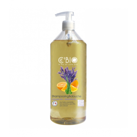 Shampooing Gel douche Bio -  Orange et lavande - 1 litre
