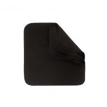 Lingettes lavables en flannelle - Noir - Lot de 12