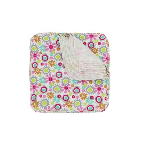 Lingettes lavables en flannelle - Fleur - Lot de 12