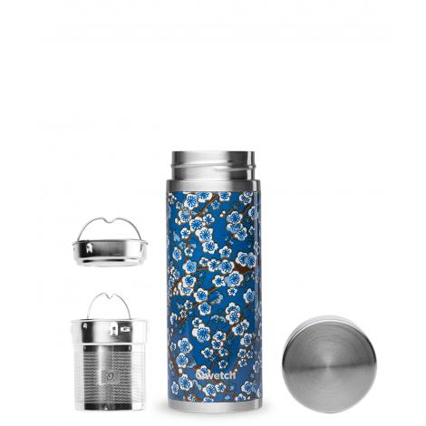 Théière nomade isotherme en inox 300 ml - Flowers bleu