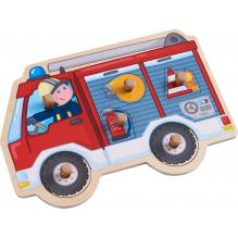 Puzzle en bois à encastrement - Camion de pompier - à partir de 12 mois