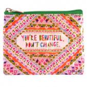 Mini trousse porte monnaie en matériaux recyclés - You'are beautiful