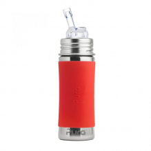 Biberon évolutif inox 325 ml Paille - Orange