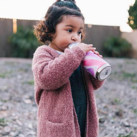 Gourde Biberon évolutif en inox - 325 ml - paille en silicone - Pink Swirl