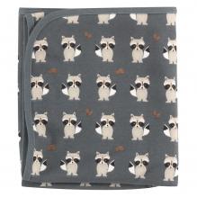 Couverture réversible en coton BIO Raton laveur Teal
