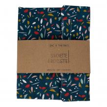 Sac à tartines - 35 x 40 cm - Bleu canard avec feuilles