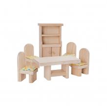 Salle à manger en bois naturel pour maison de poupée - à partir de 3 ans