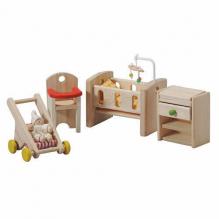 Chambre bébé - crèche en bois naturel pour maison de poupée - à partir de 3 ans