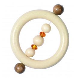 Hochet bois et perles d'ambre jaune - dès la naissance