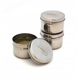 Trio minis récipients en inox pour condiments - 90 ml