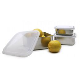 To go Large Boîte carrée en inox couvercle Cristal 1500 ml