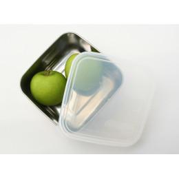 To go Médium boîte carrée en inox avec couvercle cristal - 850 ml
