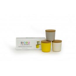 3 Bocaux en fibre de Bambou biodégradable avec couvercle en liège 24 cl ( Jaune, Gris, Blanc ) Ø 8 x 8.5 cm