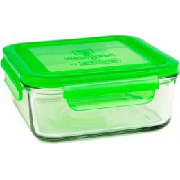 Récipient carré en verre trempé Vert - 850ml