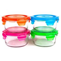Set de boîtes rondes en verre trempé avec couvercle -  4 x 370 ml
