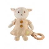 Peluche mouton avec anneau en bois - dès la naissance *