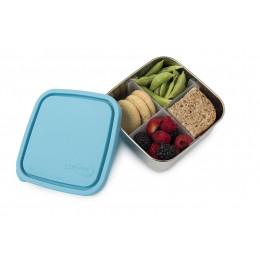 To go Médium boîte carrée en inox avec séparateurs et couvercle turquoise - 850 ml