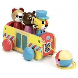 Jouet àtirer bus à formes en bois - à partir de 1 an