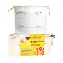 5 sacs gradués réutilisables en coton BIO fruits secs, céréales...Taille M