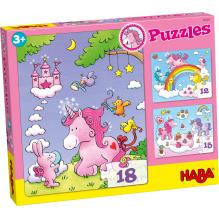 Set de 3 puzzles 'Licornes dans les nuages' - à partir de 3 ans