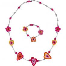 Collier + bracelet Rose coeurs  - à partir de 3 ans
