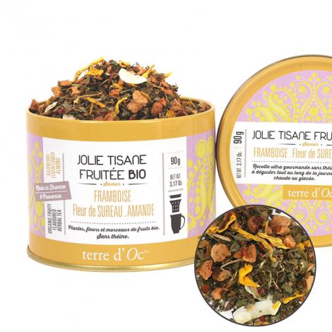 Jolie tisane fruitée Bio Framboise, Fleur de Sureau, Amande 90 g