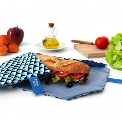Pochette sandwich lavable et réutilisable Boc'n'Roll - Tiles Blue