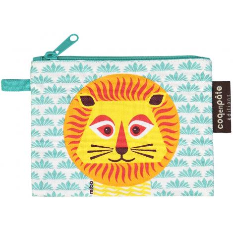 """Mini trousse - porte monnaie en coton BIO """"Lion"""""""