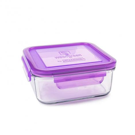Récipient carré en verre trempé Blueberry - 850 ml