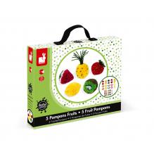 Pompons fruits - Lot de 5 - à partir de 6 ans