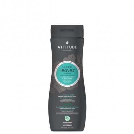 2 en 1 Soin cheveux Shampooing antipelliculaire et gel douches 473 ml Super leaves