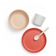 Set de vaisselle enfant en fibre de Bambou biodégradable - Corail / blanc / beige / terracotta