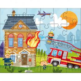 3 puzzles de 24 pièces - ma petite caserne de pompiers - à partir de 4 ans