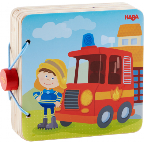 Livre en bois pour bébé Pompiers