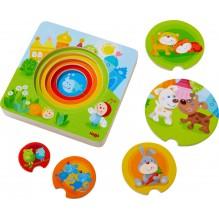 Puzzle en bois Bébés animaux multicolores