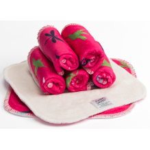 Lingettes minky Rose oiseaux et libellules - Lot de 5