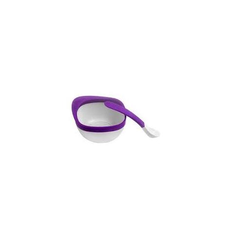 Kit bol et cuillère Sans BPA ni phthalate - Mauve