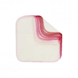 Lingettes lavables en flannelle - Déclinaison de roses - Lot de 12