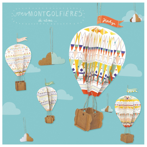 Montgolfière et nuage en papier à fabriquer - 4 montgolfières et 4 nuages